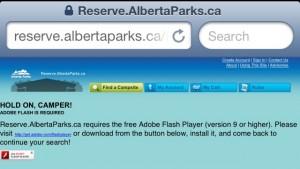 alberta parks error on iphone
