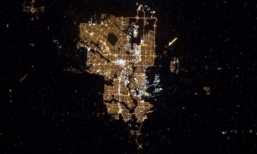 Calgary at night by Chris Hadfield