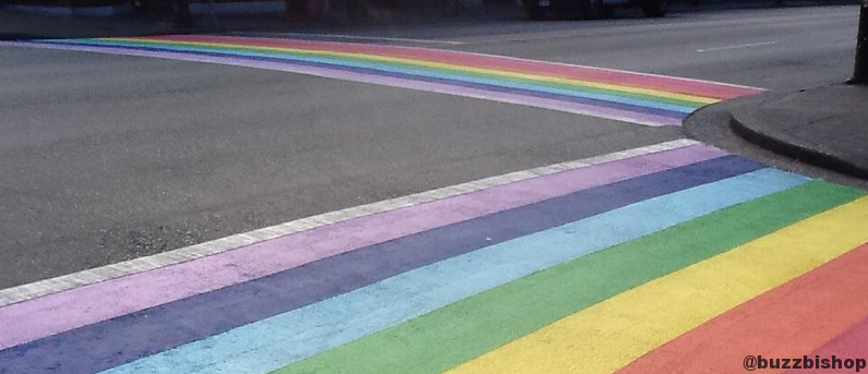 Rainbow crosswalk at Bute and Davie in Vancouver