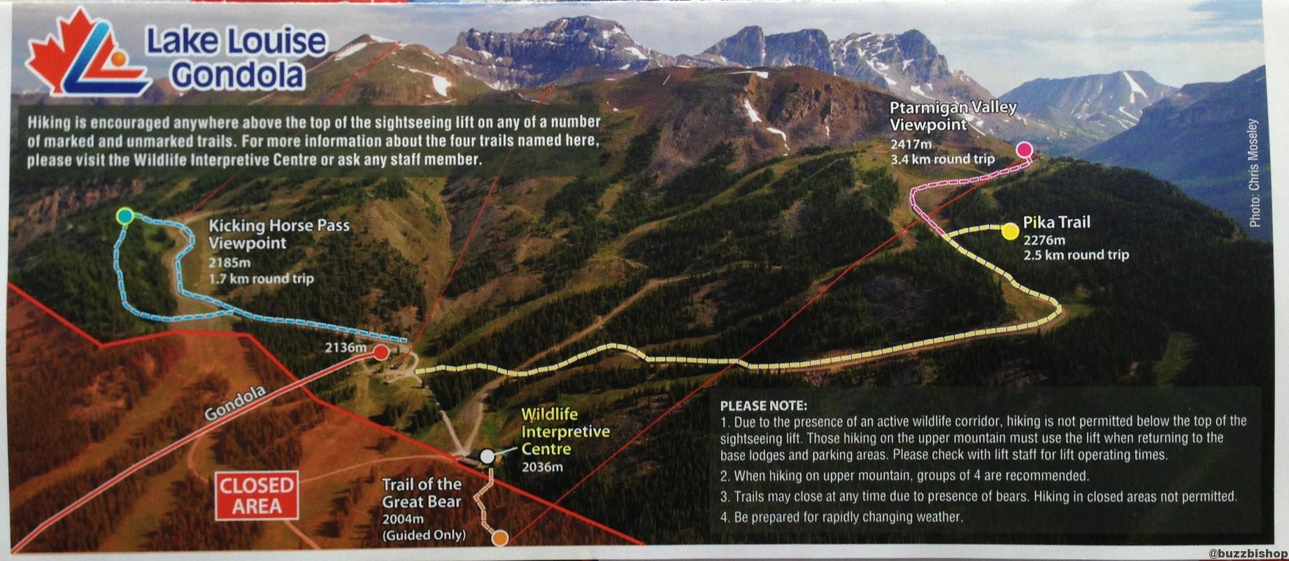 lake louise hiking trail map
