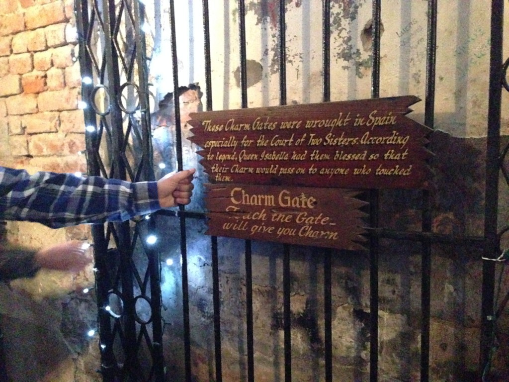 The Court of Two Sisters is a family run restaurant in the French Quarter where you can touch the Charm gates. These gates were made for the restaurant and it is said to bestow charm on anyone who touched them.