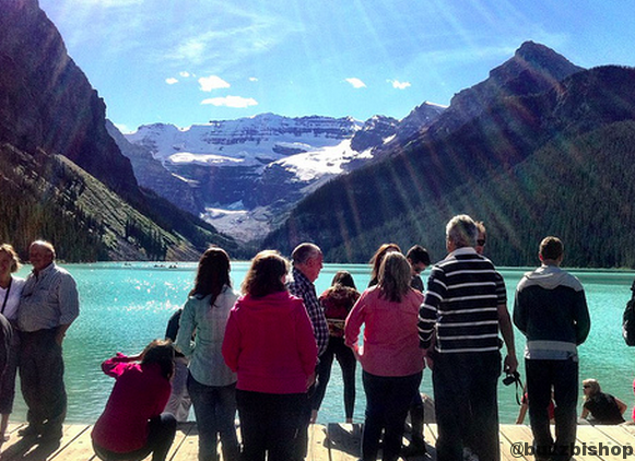 tourists at lake louise