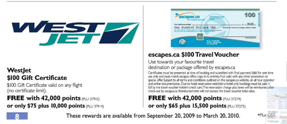 How to get WestJet gift certificates