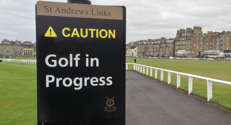 Golf In Progress sign at St Andrews