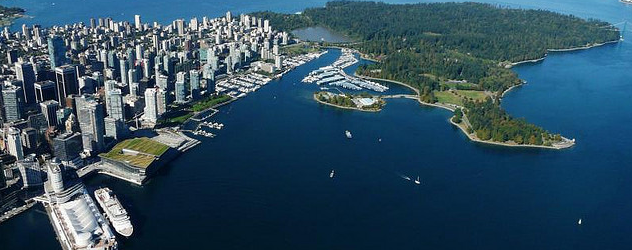 Downtown Vancouver from helijet