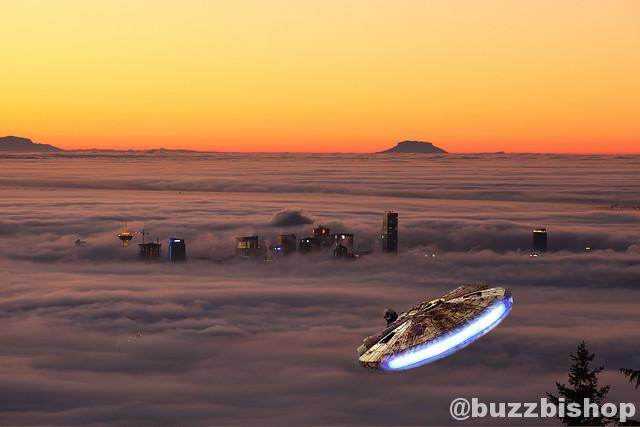 vancouver in the fog with millennium falcon