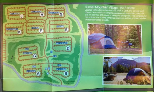 Tunnel Mountain Campground Map