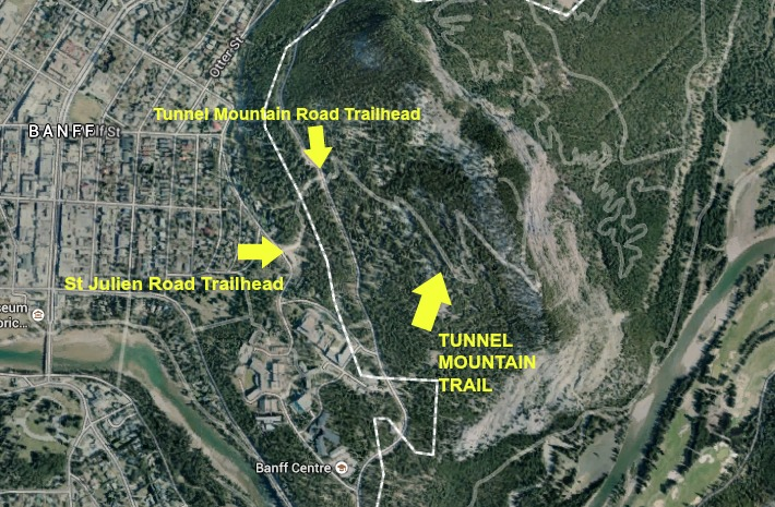 Map of Tunnel Mountain Trail - Buzz Bishop