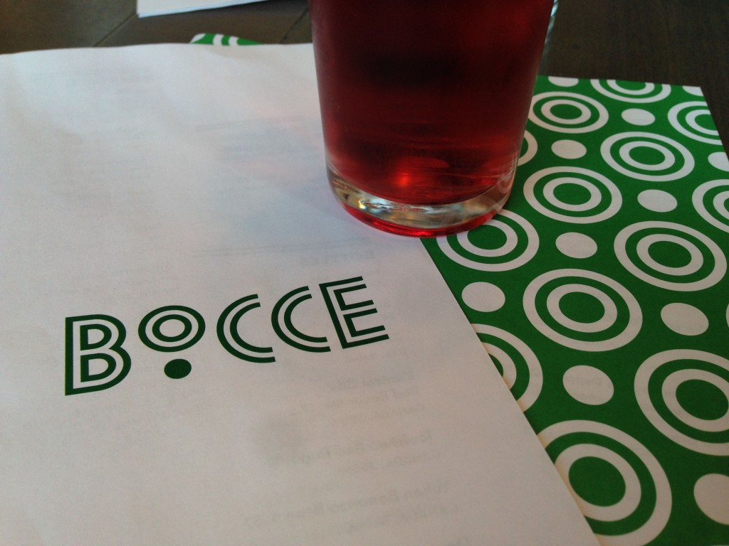 Menu at Bocce Restaurant - Buzz Bishop
