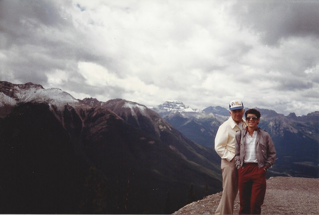 Top of Sulphur Mountain in Banff with my grandfather