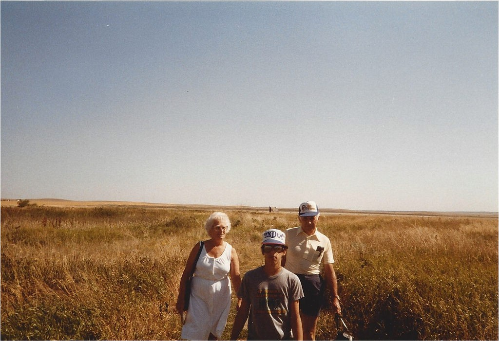 Walking through the wheat with my grandparents
