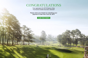 Winning Masters Tickets email