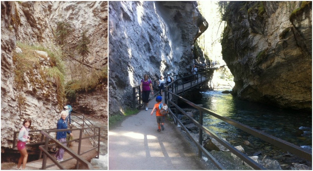 My sister and grandmother hiking Johnston Canyon, my son following their footsteps