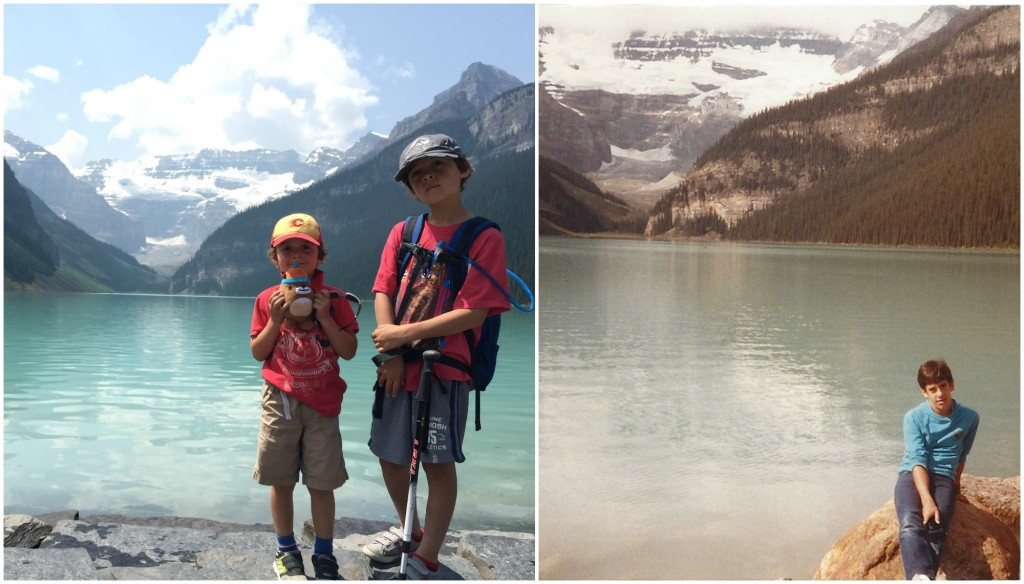 My sons and I on the shores of Lake Louise