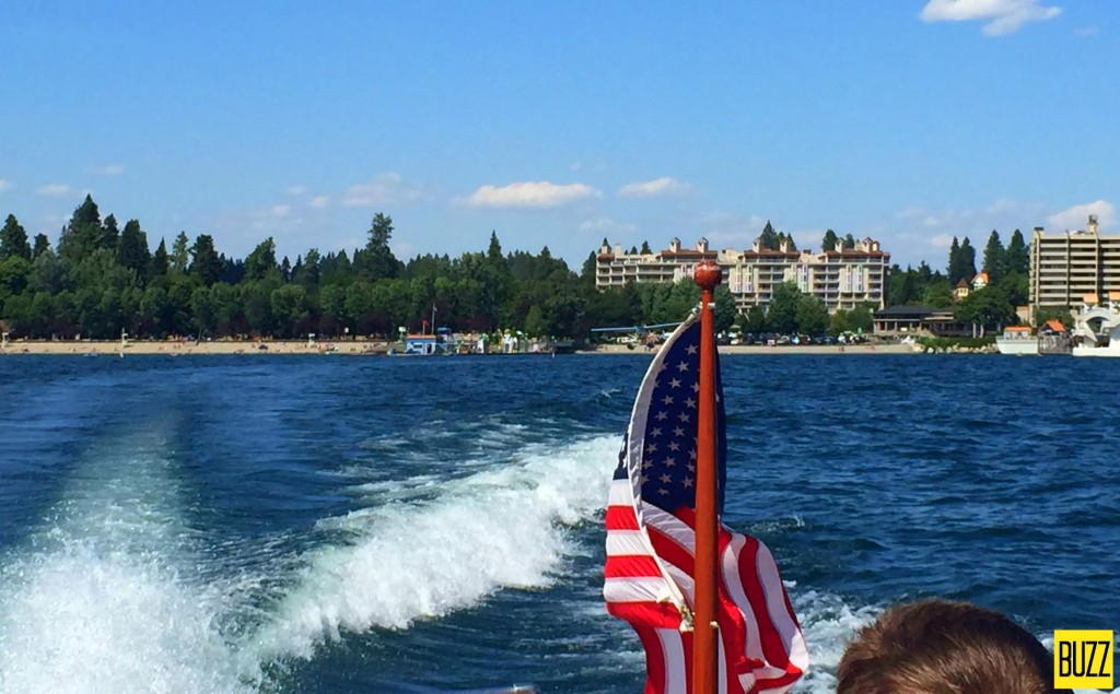 Flag flapping on board Double Eagle at the Coeur D'Alene Resort