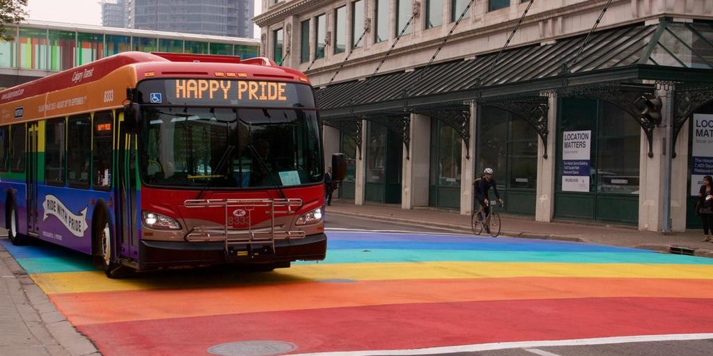 rainbow bus and crosswalk in Calgary