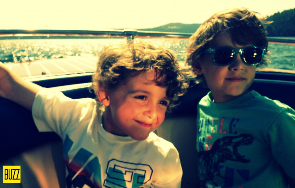 Zacharie and Charlie on board the boat at The CDA Resort