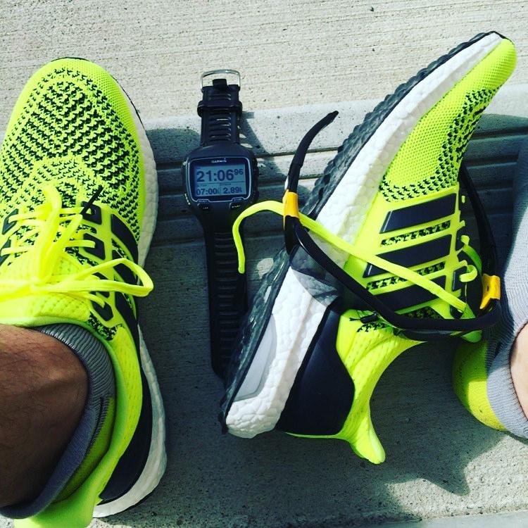 Adidas Ultraboost and Garmin Forerunner 910XT