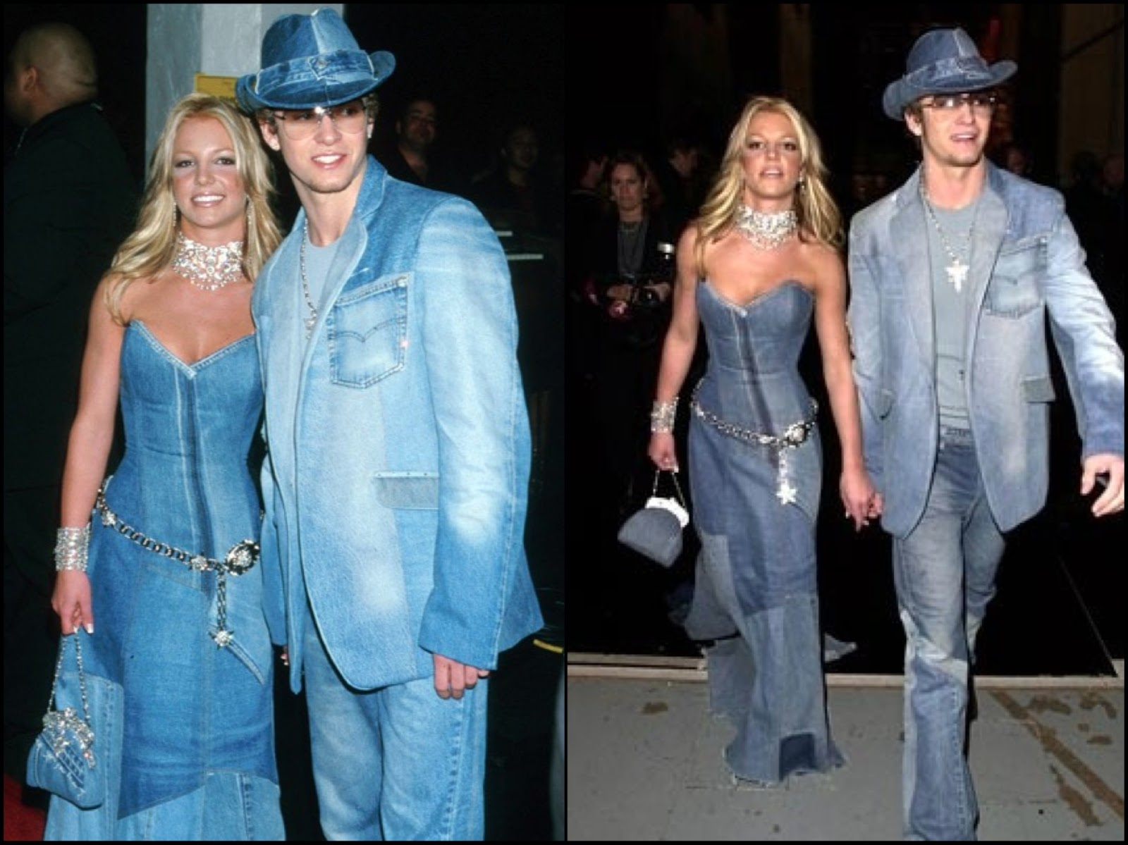 Britney and Justin in denim at 2001 AMA