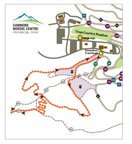 snowshoe trail map at canmore nordic centre