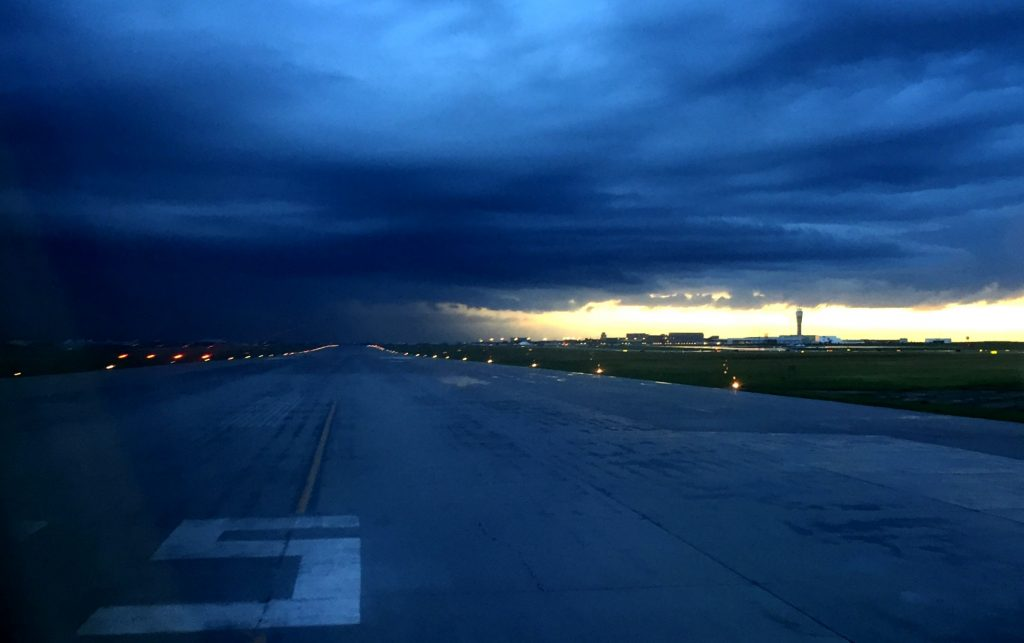 dark runway at yyc