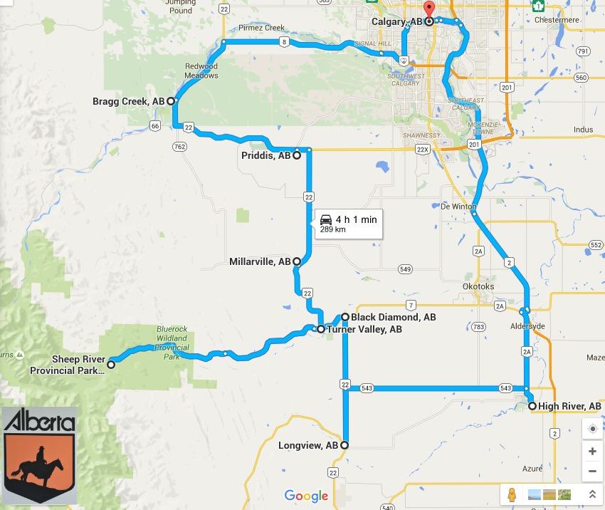 cowboy trail daytrip map