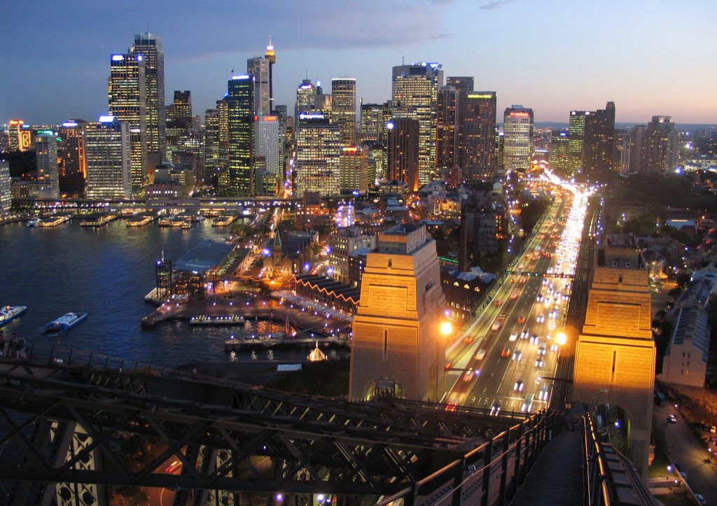 Sydney Skyline at dusk from the Sydney Harbour Bridge