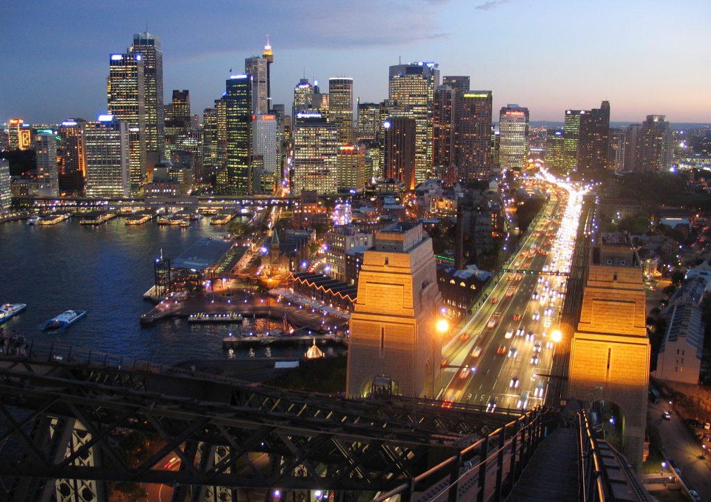 Sydney Skyline at dusk from the Sydney Harbour Bridge