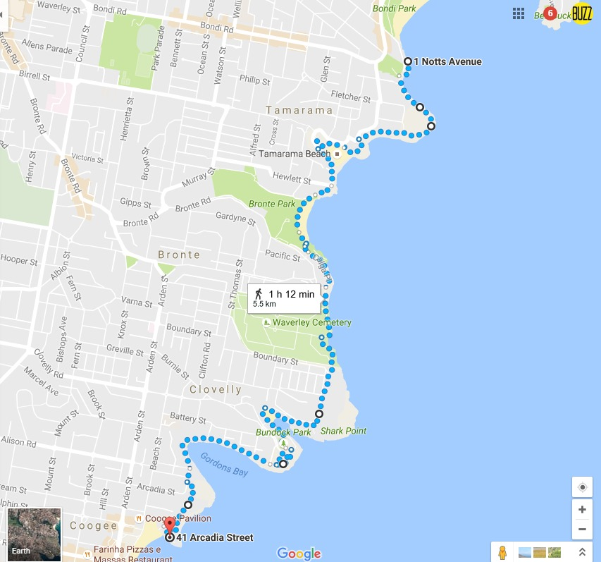 Coogee to Bondi Coastal Walk Map