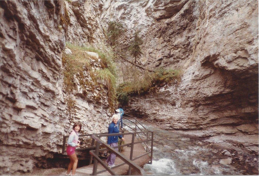 My sister and grandmother in Johnston Canyon, 1984