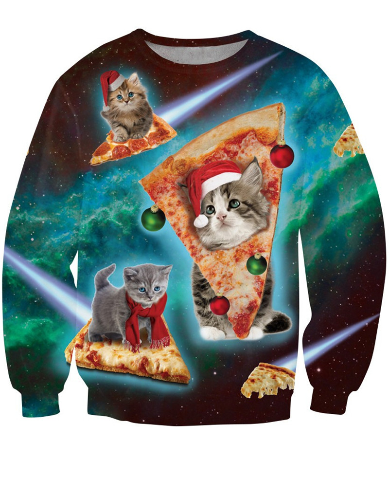 Christmas Cat Pizza Sweater