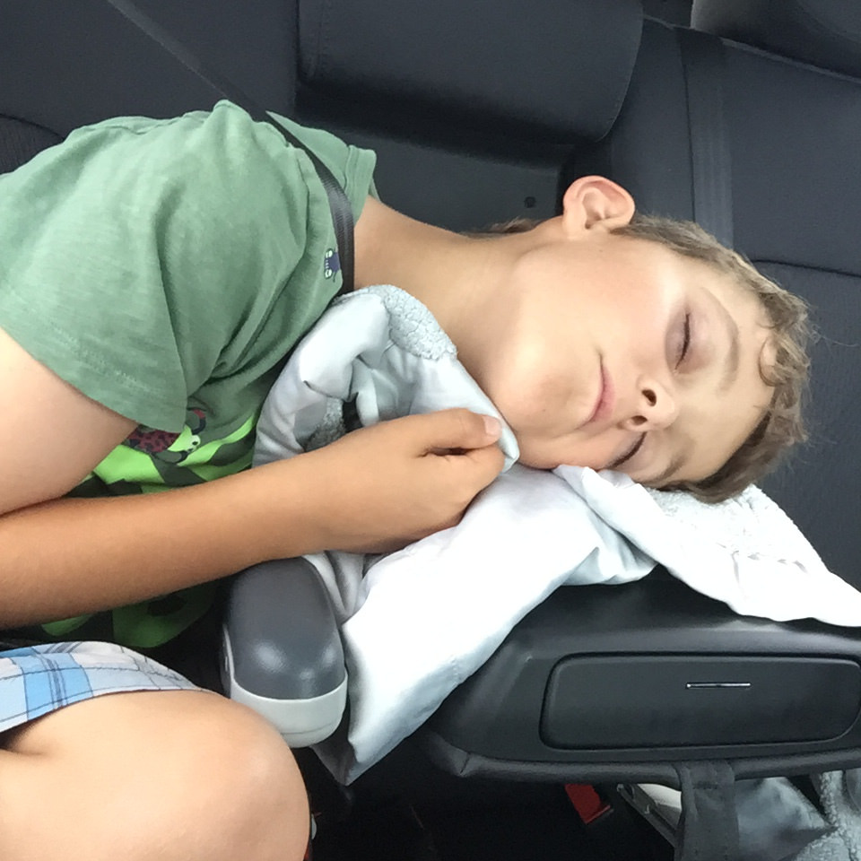 Charlie tired back seat