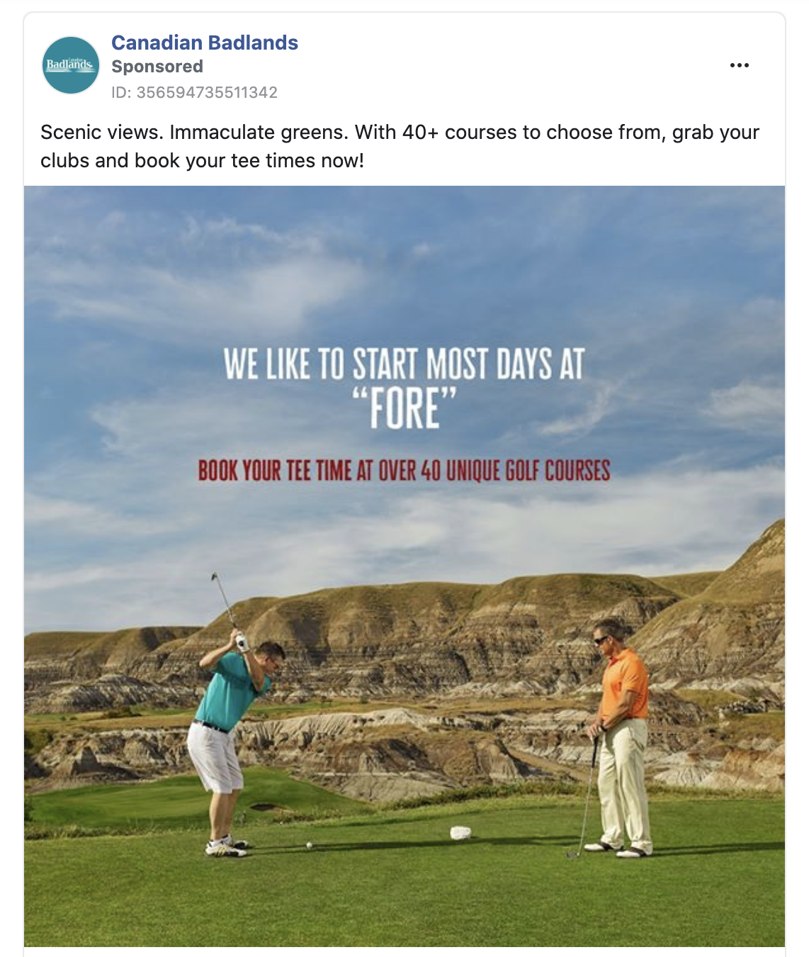 Facebook Ad for golf in Canadian Badlands